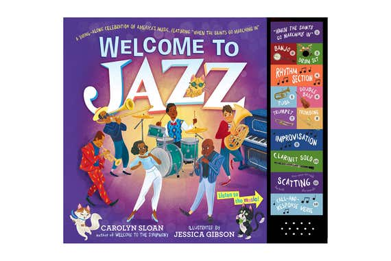"The front cover of Welcome to Jazz: A Swing-Along Celebration of America's Music, Featuring ""When the Saints Go Marching In""."