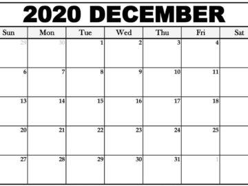 Cute December 2020 Calendar Word