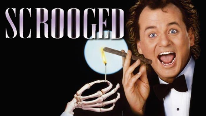 Scrooged (1988); Starring: Bill Murray, Karen Allen, John Forsythe, & John Glover